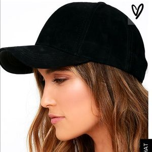 Lulu's black suede baseball hat 💕